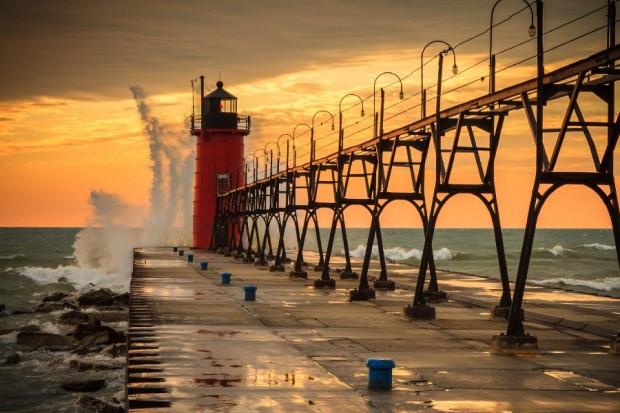 Pier-vuurtoren-water-golven-sky-lake-zonsondergang-meren-zee-oceaan-doek-kunst-aan-de-muur-poster